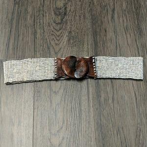 Handmade beaded belt- pearl